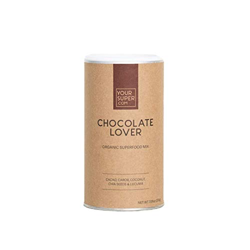Your Super Foods Chocolate Lover Mix - Powdered Blend of 6 Organic Vegan Superfoods - Cacao & Coconut - Essential Vitamins & Minerals - Natural Antioxidants - Healthy Nutritional Superfood Drink