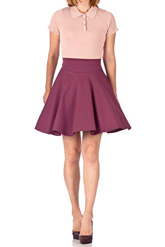 Red Blends Bordeaux Wine (Breathtaking High Waist A-line Circle Full Flared Skater Mini Skirt (L, Bordeaux Wine))