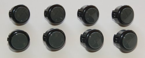 8 pc Set of Black / Dark Grey Sanwa Push Buttons OBSF-30-K/DH (Japan Import)