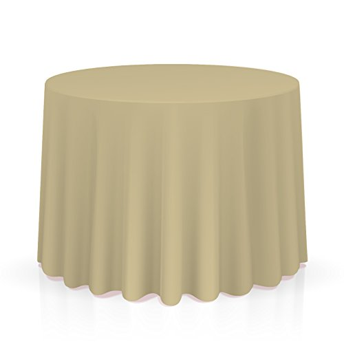 "Lann's Linens 90"" Round Premium Tablecloth for Wedding/Banquet/Restaurant - Polyester Fabric Table Cloth - Beige"