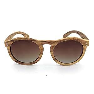 LUKEEXIN Retro Round Natural Zebra Wood Sunglasses Polarized Lens UV Protection for Men Women (Color : Brown)