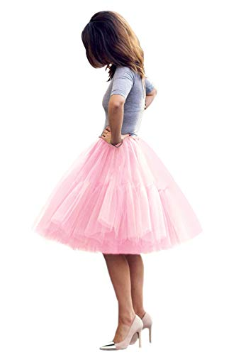 Women Short 5 Layers Midi Tulle Tutu Homecoming Fomral Skirt(Pink,One Size)]()