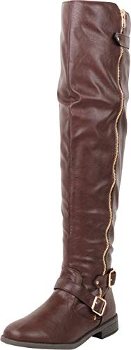 Cambridge Select Women's Thigh-High Strappy Buckle Riding Over The Knee Boot,7.5 B(M) US,Brown PU ()