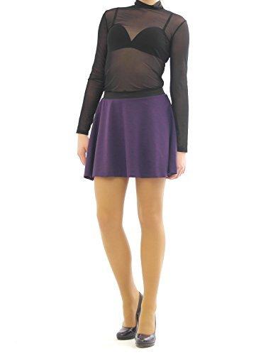 Taille haute swing rock jupe rides mini jupe jupe et ceinture lastique Violet