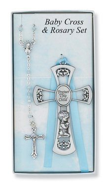 Pewter Baby Boy Cross Crib Medal & Rosary Set, Childrens Rosary