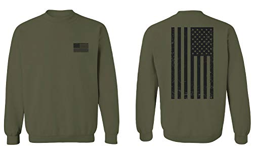 Vintage American Flag United States of America Military Army Marine us Navy USA Men's Crewneck Sweatshirt (Olive, X-Large)