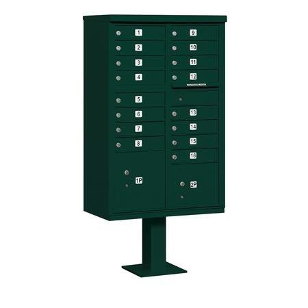 Salsbury Industries 3316GRN-P Cluster Box Unit with Pedestal and Master Locks, 16 A Size Doors, Type III, Green