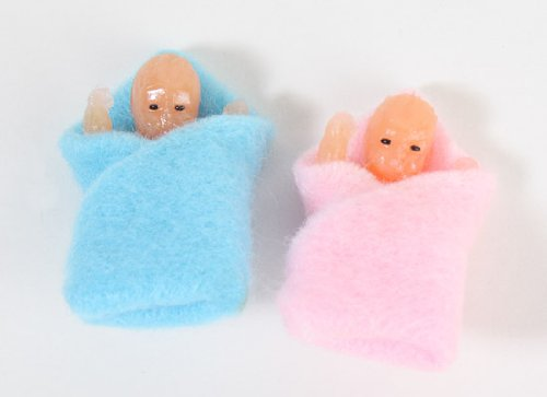 Small Miniature Baby Twins Swaddled in Soft Fleece Blankets for Dollhouses and Miniature Displays (Baby Miniature)