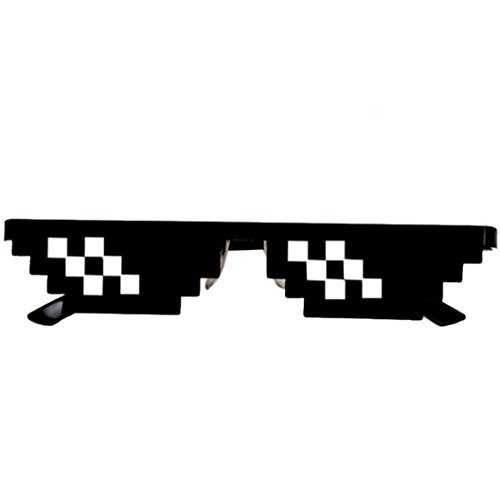 Novelty Sunglasses Toy, OULucicy Thug Life Glasses 8 Bit Pixel Deal With IT Sunglasses Unisex Goggles Eyewear Toy (2 - Laser Bit 8