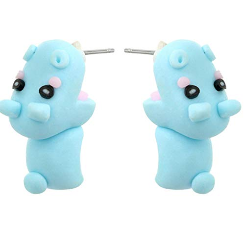 Cute Hippo Bite Ear Stud Dangle Earrings Handmade Polymer Clay