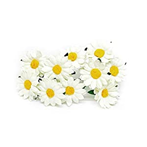 """1.5"""" White Yellow Paper Daisies with Wire Stems Mulberry Paper Flowers Floral Crown Flowers Miniature Flowers For Crafts Artificial Flowers, 20 Pieces 32"""