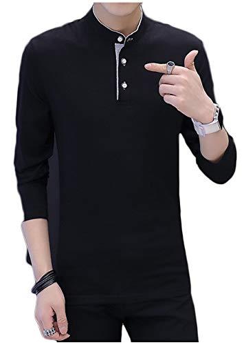 [ライオンガーデン] 無地 シンプル 長袖 シャツ カットソー ボタン ブラック グレー メンズ M ~ 2XL