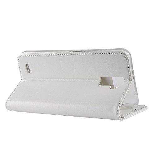 Cover Funda Para Oukitel K5000,Elegante Billetera Cover PU Cuero Funda Flip Case Carcasa Con Stand Función(Marrón) Blanco