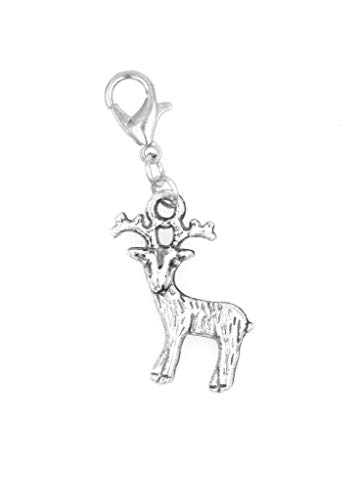 It's All About...You! Deer with Antlers Reindeer Clip on Charm Perfect for Necklaces and Bracelets 100C