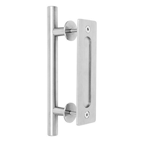 "Large Stainless Steel Sliding Barn Door Handle (12"") by CharmedLife - (Set Includes Both the Handle for Exterior of Door and the Flush Pull for Interior) Modern Barn Door Hardware Handle Brushed Nickel Large Flush"