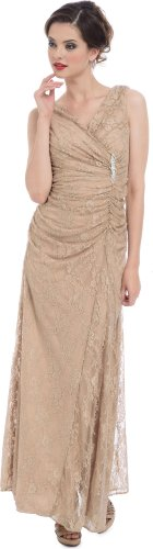 PacificPlex Women's v-Neck Solid Sleeveless Long Gown Dress, Mocha, Large (Pacificplex Gowns)