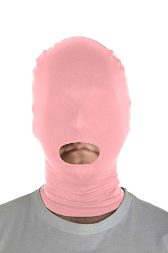 Marvoll Lycra Spandex Mouth Hole Zentai Mask Hoods Halloween Costumes (Adults, Pink)]()