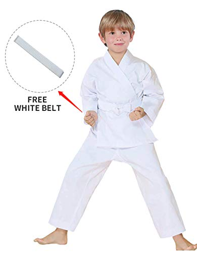"FLUORY Karate Uniform with Belt, White Karate Gi for Adult & Children, Ku-c001-white, Size 000/110CM (3'5""-3'9"")"