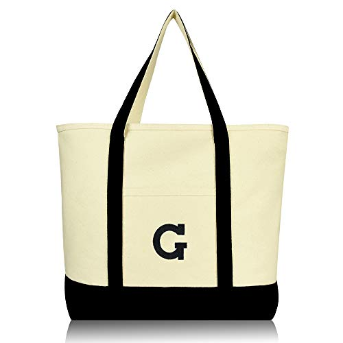 DALIX Initial Tote Bag Personalized Monogram Black Zippered Top Letter - G