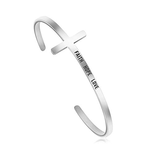 MEMGIFT Cross Bracelet Religious Cuff Bangle Bible Verse Jewelry Gift for Women Engraved Faith Hope Love ()