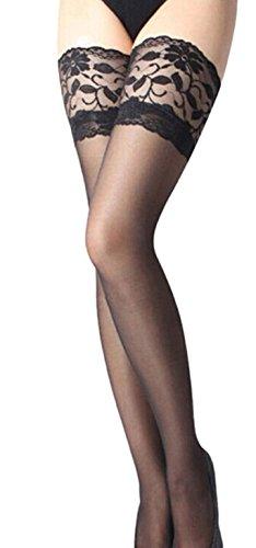 EVERYLON semplici unica colore fascia nero autoreggenti Calze con tg sexy ricamata velate 4tzr4qOZw