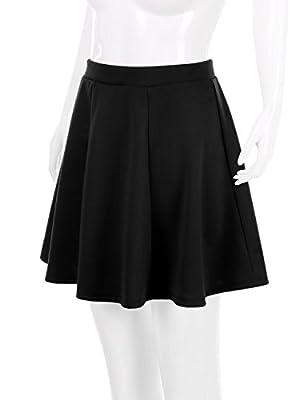 Doublju Versatile Elastic Waist Flared Mini Skater Skirt (Plus size available)