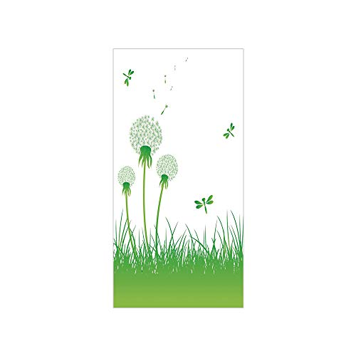 (3D Decorative Film Privacy Window Film No Glue,Dragonfly,Ecology Background with Dandelions Greenland Grass Habitat Nature Print Decorative,Lime Green White,for Home&Office)