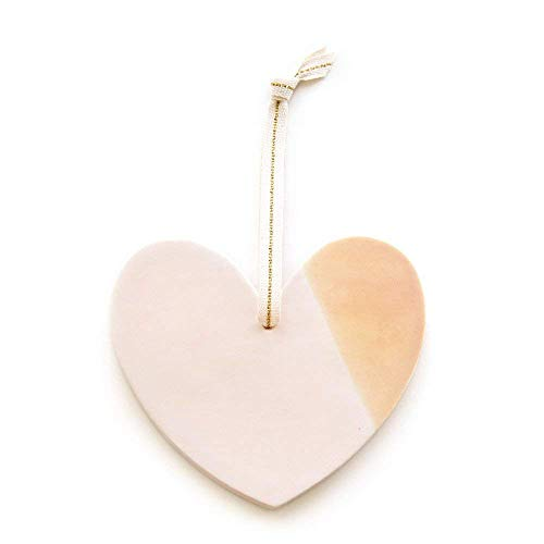Handmade Ceramic Heart Ornament - Pastel Pink and Orange Hand-Dipped Glaze (Love/Christmas/Holiday/Wall Decor)