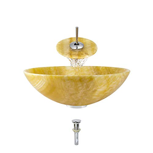 853 Honey Onyx Vessel Sink Chrome Bathroom Ensemble with Waterfall Faucet (Bundle - 4 Items: Sink, Faucet, Pop Up Drain, and Sink Ring)