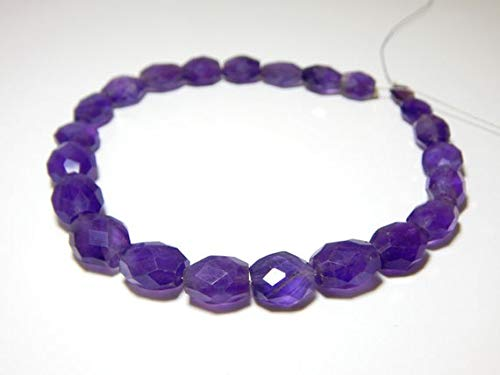 GemAbyss Beads Gemstone Amethyst Faceted Oval Beads 100 Persent Natural Gemstone Size 11.8x8.8mm 9.5 Inch Long Inches Strand. - Strand Inch 9.5