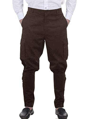 Mens Medieval Renaissance Pants Steampunk Victorian Viking Costume Cosplay Navigator Gothic Trousers Brown ()