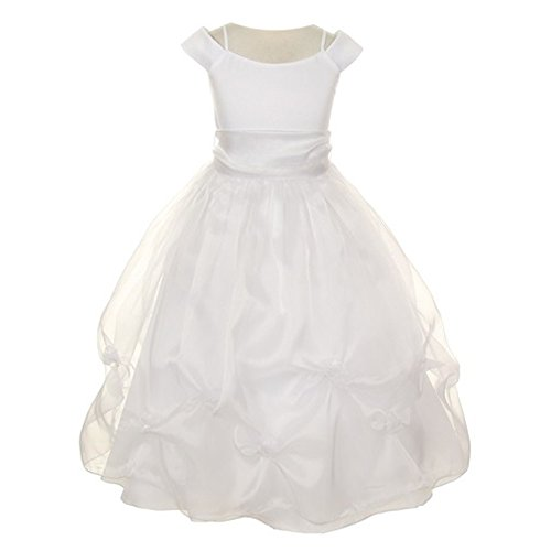 Kiki Kids Big Girls White Sash Satin Organza Pick-up Flower Girl Communion Dress 16