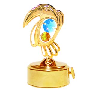 Gold Plated Toucan Music Box w/Pink/Mixed 6 Colors Swarovski Element Crystal