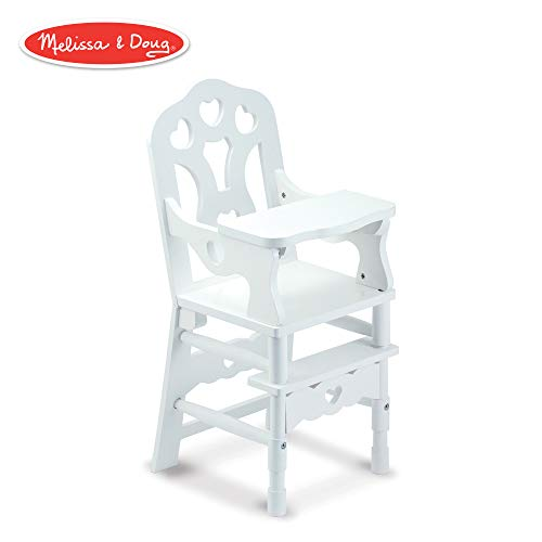 (Melissa & Doug 9382 White Wooden 20-Inches Tall Doll High Chair)
