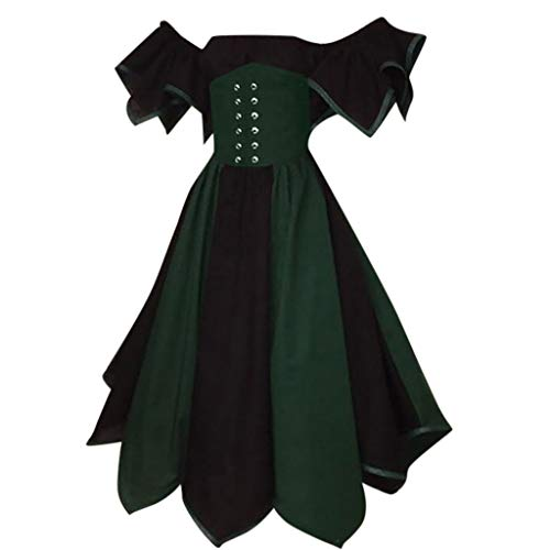 Medieval Dress for Women Renaissance,SMALLE◕‿◕ Women's Vintage Petal Sleeve Wide Shoulder Irish Costume Over Dress ()