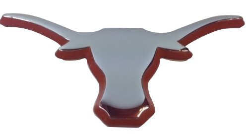 The University of Texas Longhorns METAL Auto Emblem - Many Available! (Chrome (Orange trim)) ()