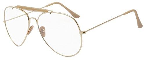 SunglassUP Oversize Round Double Bar Clear Lens Metal Aviator Plastic Cross Bar Glasses (Gold (Sun Sensor), 60) by Sunglass Stop Shop