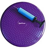 SUESPORT Air Inflated Stability Wobble Cushion, Balance Disc, Twist Massage, Fitness and Exercise, Pump Included, Diameter 14 Inch, Purple