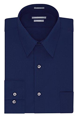 Van Heusen Men's Dress Shirt Fitted Poplin Solid, Persian Blue, 16