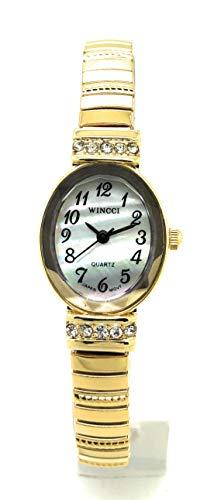 Ladies Elegant Classic Small Oval Stretch Elastic Band Fashion Watch Wincci (Gold)