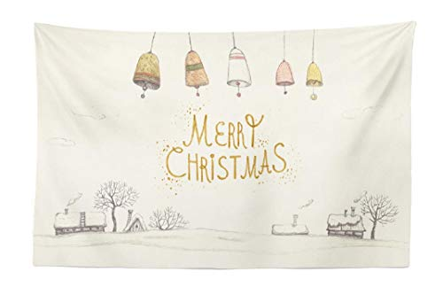 FINOY Tapestry Wall Hanging,Vintage Greeting Watercolor Winter Tapestry Wall Art,Throw Tapestry for Bedroom 30L x 45W Vintage Greeting