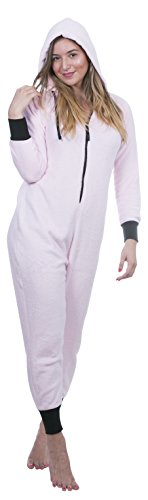 Totally Pink Women's Warm and Cozy Plush Neon Onesies for Women One-Piece Novelty Pajamas (Small, Pink)
