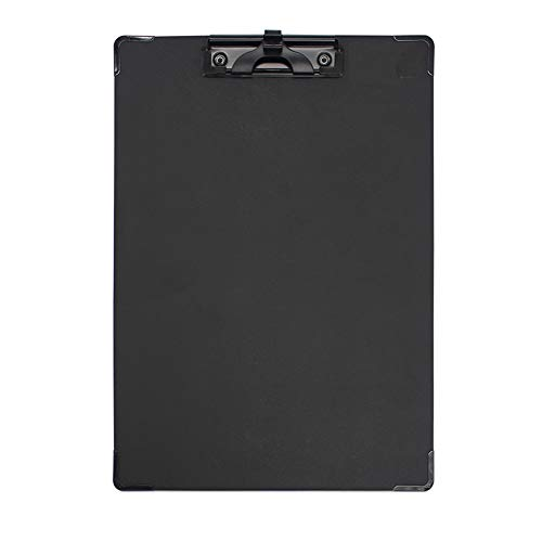 Heatleper Pack of 1 Black PVC Clipboard Documents Files Painted with Penholder for Office School Restaurant - 12.59