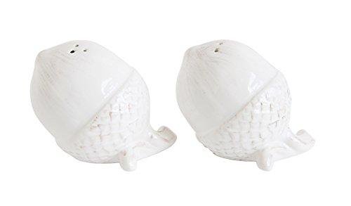 2 Pc White Ceramic Acorn Harvest 3 inch Salt and Pepper Shaker Set