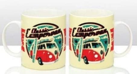 4 Style Rétro VW Camper Van mugs tasses bleu rose jaune vert NEUF *