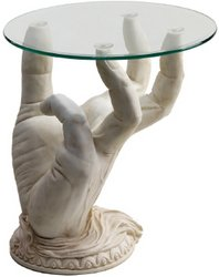 Cheap Design Toscano At Your Service Glass Topped Sculptural Table