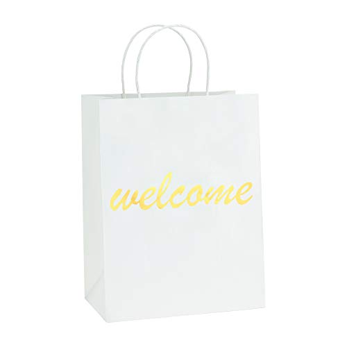BagDream White Kraft Paper Welcome Gift Bags Bulk with Handles 25Pcs 8x4.25x10.5 Inches Heavy Duty Paper Bags Shopping Bags Wedding Party Bags Retail Merchandise Bags -