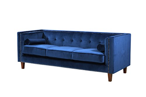 Container Furniture Direct S5369-S Kittleson Velvet Upholstered Modern Chesterfield Sofa with Nailhead Trim, Blue (Blue Sofa Chesterfield)