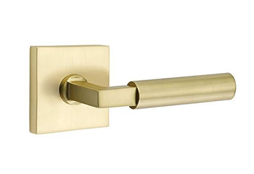 Square Rosette Door Set with Hercules Levers Right Hand Privacy in Satin (Emtek Brass Levers)