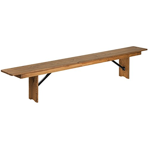 Flash Furniture HERCULES Series 8' x 12'' Antique Rustic Solid Pine Folding Farm Bench Dining Room Pine Bench